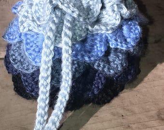 Blue Ombré Dragon Scale Dice Bag