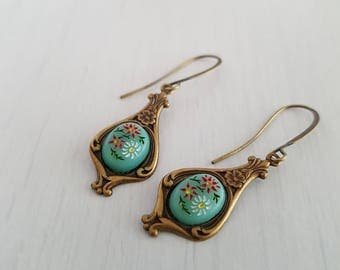 Vintage glass charm pendant earrings.