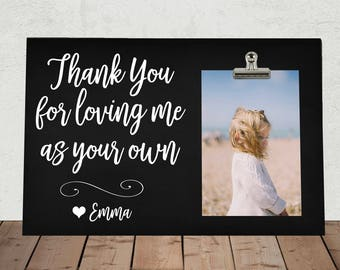Personalized Free gift for DAD or MOM, Thank You for Loving me as your own, Stepdad, Stepmom, Adoptive Parents, Grandparents, Blended Family