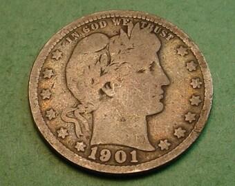 Barber Quarter 1901 Good<> # ET3705