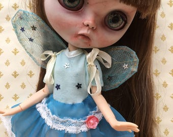 Blythe/Pullip Blue Fairy Dress Set With Detachable Wings  ' Wish Upon A Star '