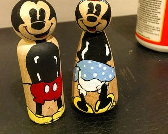 Mickey and Minnie inspired peg dolls