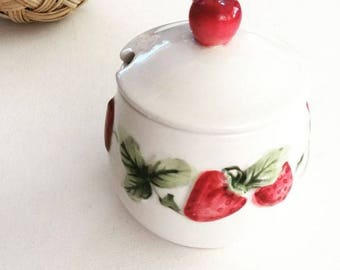 sweet strawberry vintage sugar bowl