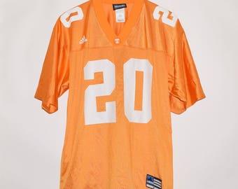 Vintage Adidas Tennessee Volunteers #20 Nylon Football Jersey Medium Made in USA