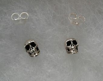 Skull Earrings, Solid Sterling Silver Skull Stud Earrings