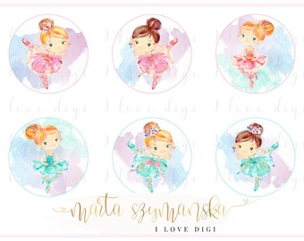 Watercolour ballerina tags, Printable Instant download collage sheet, set of 6 sweet girls, cardmaking party supplies
