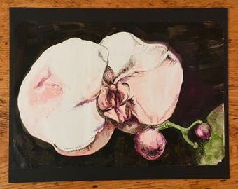 Ink and watercolour orchid
