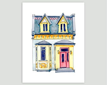 A Small Montreal House – Fine Art Print of Original Watercolour Painting