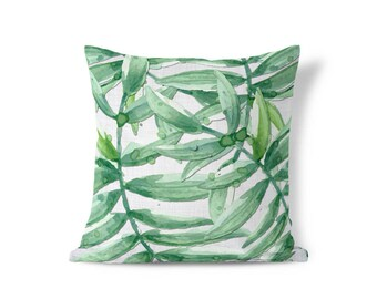 Green Palm Pillow - Palm Leaf Pillow - Pillow Sham - Throw Pillow Cover - Decorative Pillow - Textured Pillow - Cushion Cover- Accent Pillow