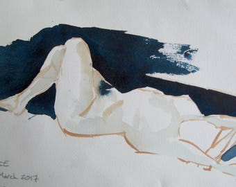 Watercolor art, woman, figure drawing, print from a handmade original