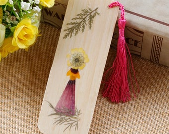 18 kind-A wooden bookmark made with flowers-Happy girl