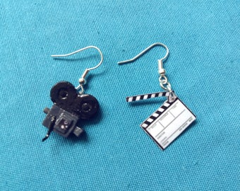Earrings Antique video camera and clapperboard clapperboard video cine Cinema earrings