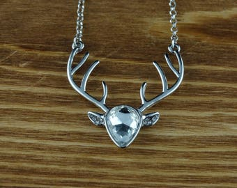 Cubic Zirconia Crystal Deer Necklace