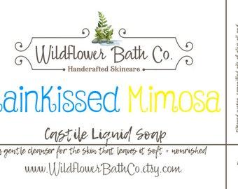Rainkissed Mimosa | Castile Liquid Soap | Olive Oil Castile Soap | Natural Liquid Soap | Liquid Soap | Castile Soap | Fruity Castile Soap