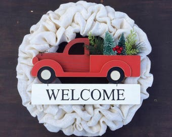 Burlap Wreath, White Burlap, Simple Country Wreath, Wreath with Little Red Truck, Red Truck, Winter Wreath, Christmas Wreath, Realtor Gift