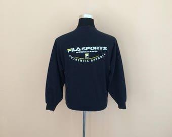 Vintage 90's Fila Crewneck | Fila Sport | Black Fila crewneck