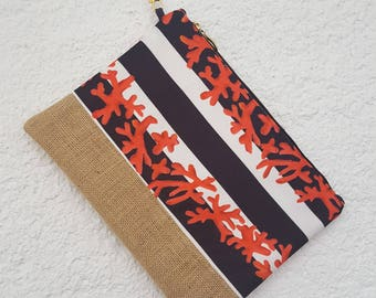 black white coral stripe clutch red coral pattern clutchbag color lined bag  with jute fabric handmade clutch with strap 11,8'' x 9''