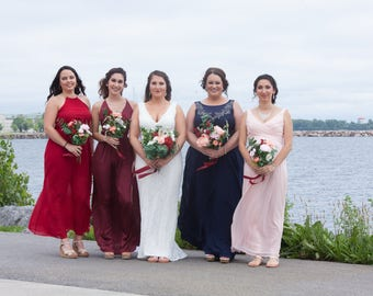 Set of Blush, Ivory, Wine, and Eucalyptus Bouquets for Wedding - Order a set and save 10% off regular price bouquets