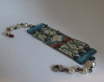 One of a Kind Antique Floral Tin Link Bracelet