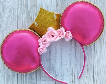 Minnie Mouse Ears, Sleeping Beauty Minnie Ears, Sleeping Beauty Ears, Mickey Ears, Disney Ears, Aurora Minnie Ears, Mickey Mouse Ears