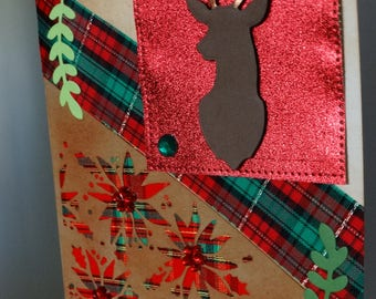 Plaid, Poinsettia and Deer Christmas Card
