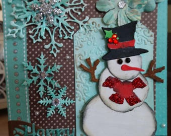 Aqua and brown Snowman Christmas Card