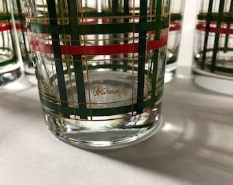 Georges Briard Rocks glasses Vintage Set of 7 plaid Christmas Barware Signed Mid Century