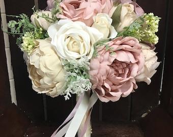 Luxury handmade artificial wedding bouquet, rose gold bridal bouquet, dusky pink wedding flowers, vintage wedding flowers, bespoke bouquet.