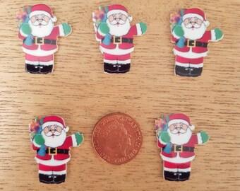 set of 5 Santa flatbacks