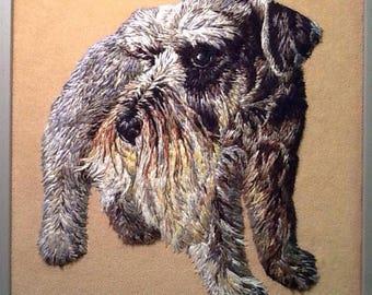 Hand Embroidery Schnauzer Dog