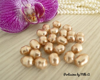 Set of 10 beautiful Majorca pearls, mother of Pearl Pink 10mm