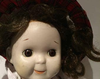 Porcelain doll antique 1930s Handmade with Mohair