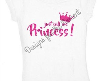 Just call me princess T-Shirt / Onesie - Birthday - Toddler - Glitter
