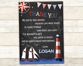 Nautical Thank You Card - Nautical Party Card - Personalized Nautical Thank You Card - Nautical Birthday