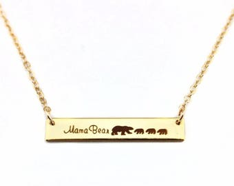 mama bear bar necklace Engraved hand stamped