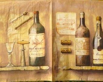 Napkin wine bottles