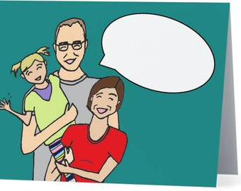 Custom Family Illustrated Portrait Word Bubble Folded Note Cards