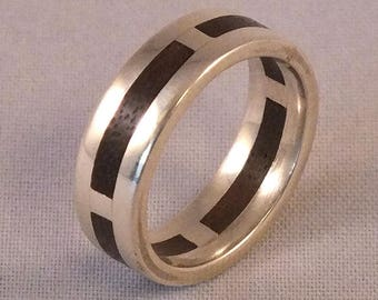 Handmade 925 Sterling silver exotic Walnut wood ring size L+