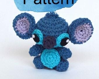 Stitch mini amigurumi crochet PATTERN. Lilo and Stitch crochet doll amigurumi PATTERN