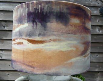 watercolour landscape velvet drum lampshade or ceiling light 30cm diameter