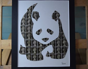 Four Penny Panda - Postage Stamp Art