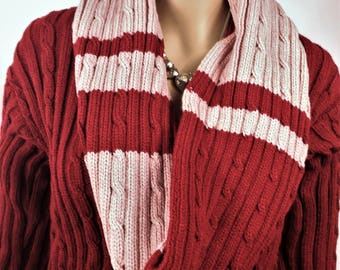 Cardigan, vest woman vest made by hand knitted Cardigan, winter snood, Snood, warm vest waistcoat vest, Burgundy vest