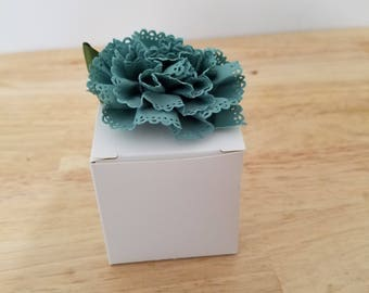 White Favor Box Topped with Fabric Flower