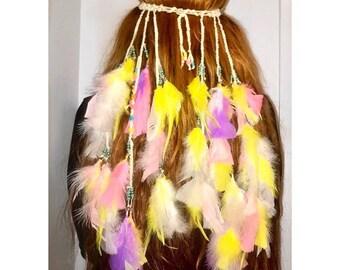 Burning Man, Bohemian, Boho, Festival, Pastel, Feather, Headband, Headpiece. Pink, Yellow, Purple, White .