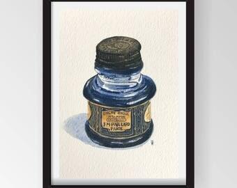 Original Art - Gouache Painting - Antique Ink Bottle - NOT A PRINT - Great Gift!