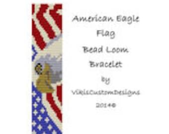 American Eagle Flag Bead Loom Bracelet Pattern by VikisCustomDesigns