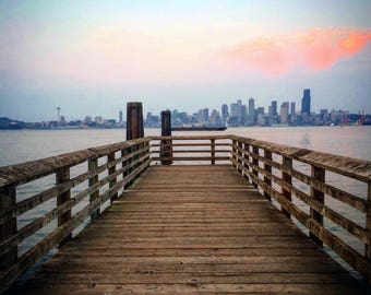 Downtown Seattle City Skyline Photograph Print, Washington, Cityscape, Waterfront, Pier, Photography, Home Decor, Print Art, Wall Art
