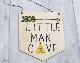Little Man Cave Pennant, Little Man Cave Flag Bunting, Wall Hanging, Scandi, Batman Nursery Decor, Black and Yellow Nursery
