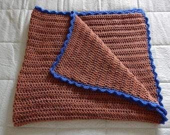Crochet baby blanket - Afghan - Baby boy blanket - Handmade - Brown and blue - Baby - Toddler - Long baby blanket
