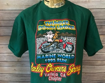 Vintage 90s Harley Davidson Thunder Down Under Marine World Run T-Shirt (L)